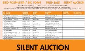 Bid form Tulip Sale Silent Auction